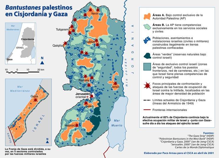 Franja De Gaza Mapa.Mapa De Los Bantustanes Palestinos En Gaza Y Cisjordania